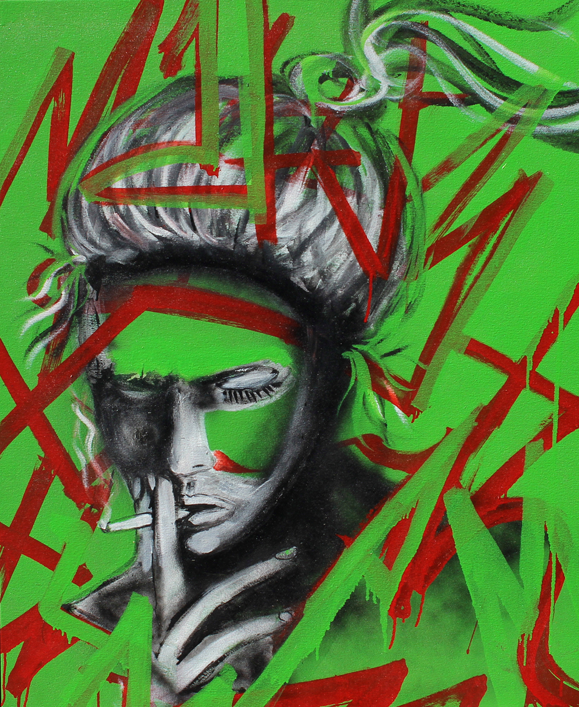 Cigarret Girl,2015 ( Street Caligraphy) Paint 34,5 x 41,5 inches