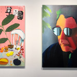 """""""Emulator"""", Canyon Castator (left image) and Jonathan Chapline (right image), install view at Gallery 151, New York, 2016"""