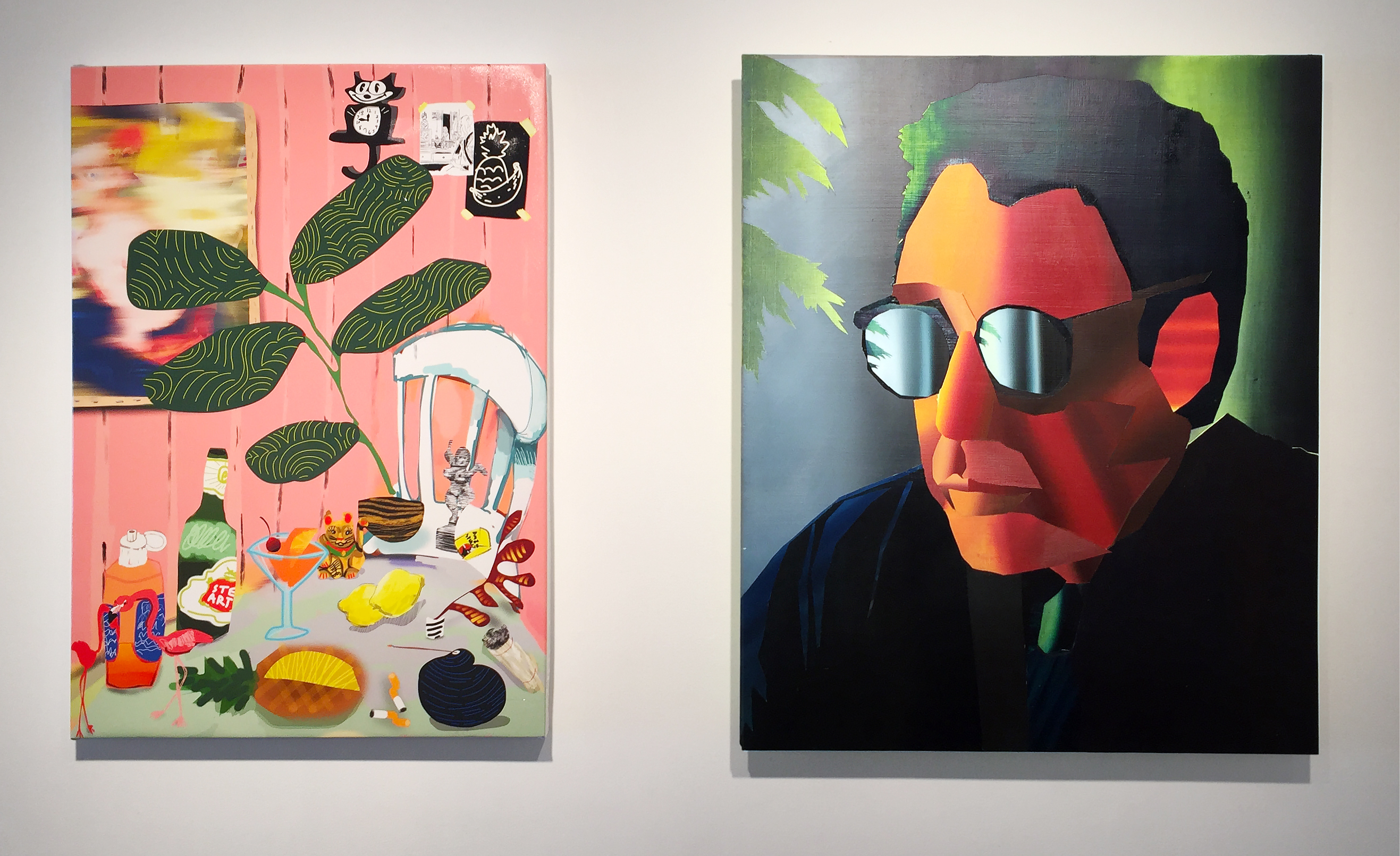 """Emulator"", Canyon Castator (left image) and Jonathan Chapline (right image), install view at Gallery 151, New York, 2016"