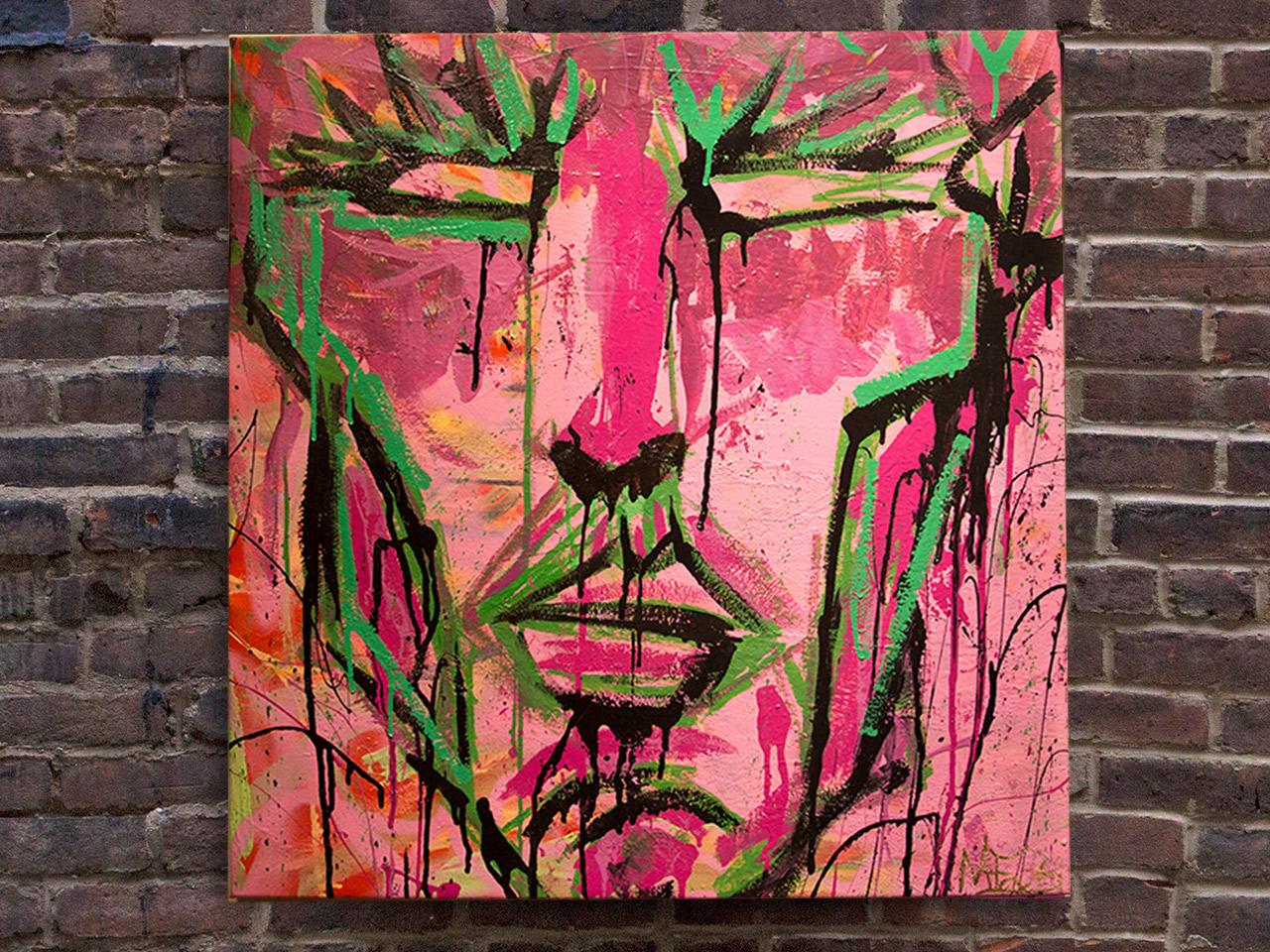 Tiago, 2014, (Caras e Cores Series) Paint, 27 x 28 inches.